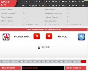 Fiorentina-Napoli: diretta live su Blitz con Sportal