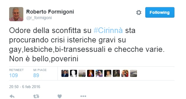 """Formigoni su Twitter: """"Gay isterici e checche, poverini..."""""""