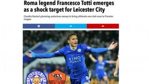 Il capitano della Roma, Francesco Totti, con la maglia del Leicester