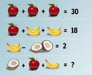 Quanto fa mele più banane meno cocco?