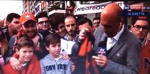 YOUTUBE Sky, Francesco Modugno gaffe col bambino milanista
