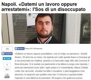 """Disoccupato Napoli: """"Datemi un lavoro o arrestatemi"""""""