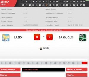 Lazio-Sassuolo: diretta live su Blitz con Sportal