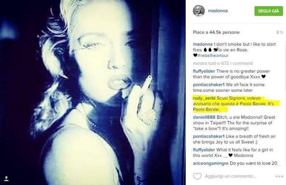 Madonna si sbaglia e posta su Instagram foto di Paola Barale