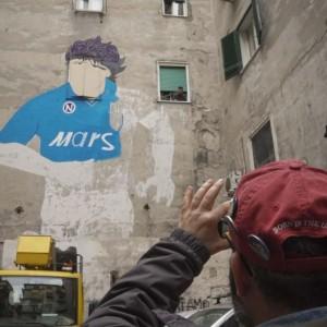Guarda la versione ingrandita di Diego Armando Maradona, murales restaurato a Napoli (foto Ansa)