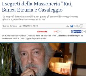 Massoneria, i segreti di Giuliano di Bernardo: Rai, banca...