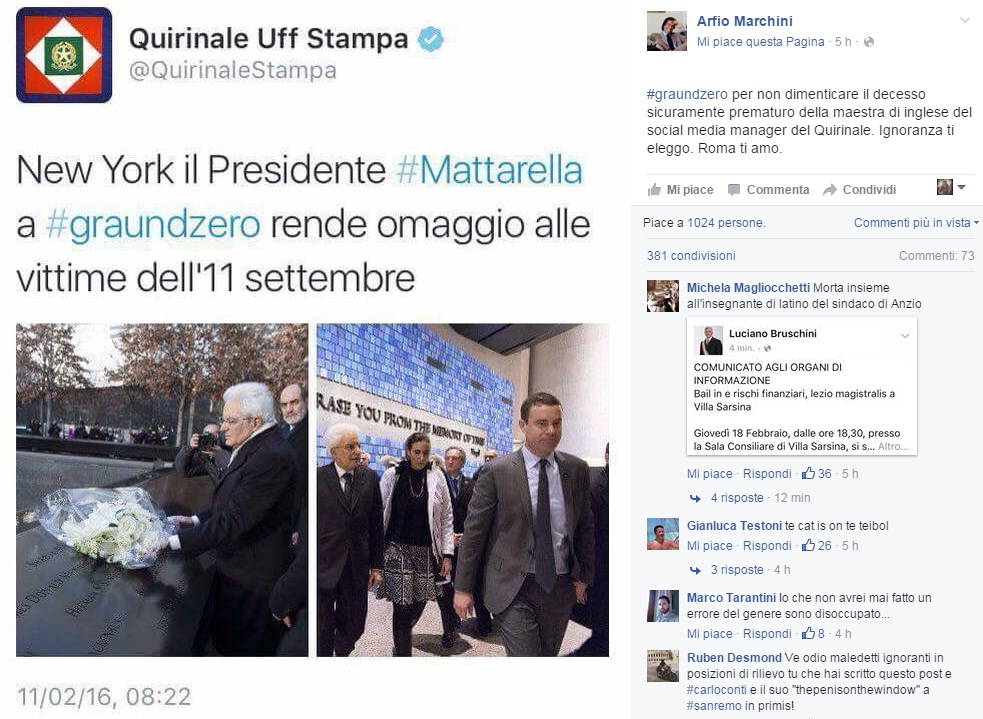 Mattarella a #graundzero: tweet gaffe. E Arfio Marchini...