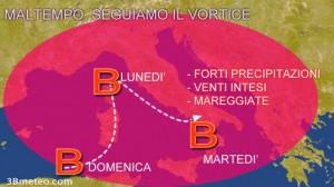 Guarda la versione ingrandita di Meteo, allarme maltempo per Golia: neve, pioggia, vento (foto da 3BMeteo)