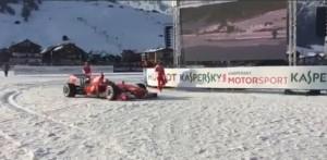 YOUTUBE Giancarlo Fisichella, Ferrari show sulla neve