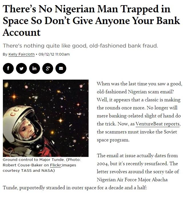 Truffa Nigeria: astronauta perso in spazio2