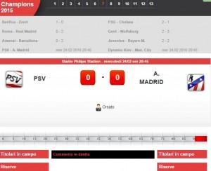 Psv Eindhoven-Atletico Madrid: diretta live su Blitz con Sportal