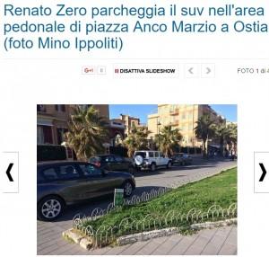 Guarda la versione ingrandita di Renato Zero parcheggia la jeep in area pedonale FOTO