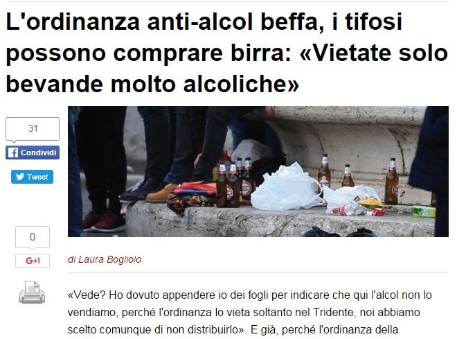 Roma: ordinanza anti-alcol beffa, tifosi possono bere birra