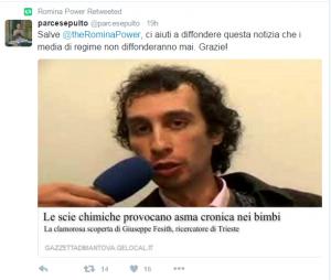 """Guarda la versione ingrandita di Romina Power: """"Italia avvelenata dalle scie chimiche"""""""