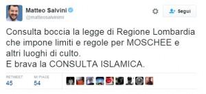 """Matteo Salvini: """"Corte Costituzionale è Consulta islamica"""""""