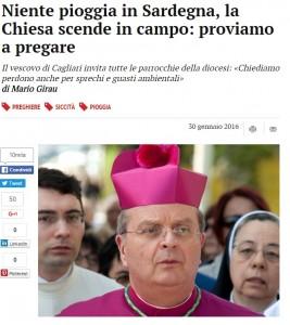 """Siccità, Vescovo sardo implora pioggia: """"Fedeli preghiamo.."""""""
