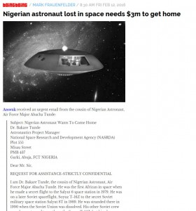 Truffa Nigeria: astronauta perso in spazio