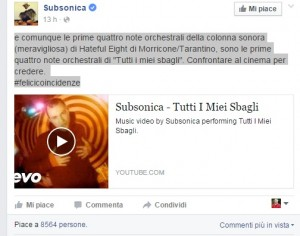 """YOUTUBE Subsonica: """"Ennio Morricone, 4 note uguali a noi…"""""""