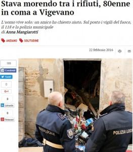 Vigevano, anziano in coma: viveva sommerso dai rifiuti