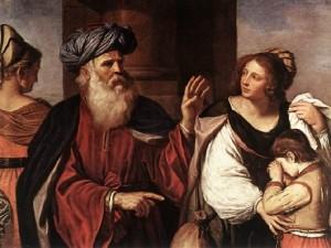 Guarda la versione ingrandita di Nichi Vendola come Abramo, qui, nel dipinto del Guercino conservato a Brera, mentre ripudia la schiava Agar che gli aveva dato il primo figlio, Ismaele, esempio di utero surrogato che si trova nella Bibbia