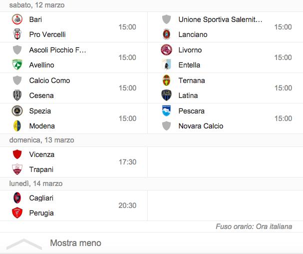 Serie B, il programma di giornata