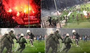 Coppa Grecia annullata dopo violenze e semifinale annullata, foto da Twitter
