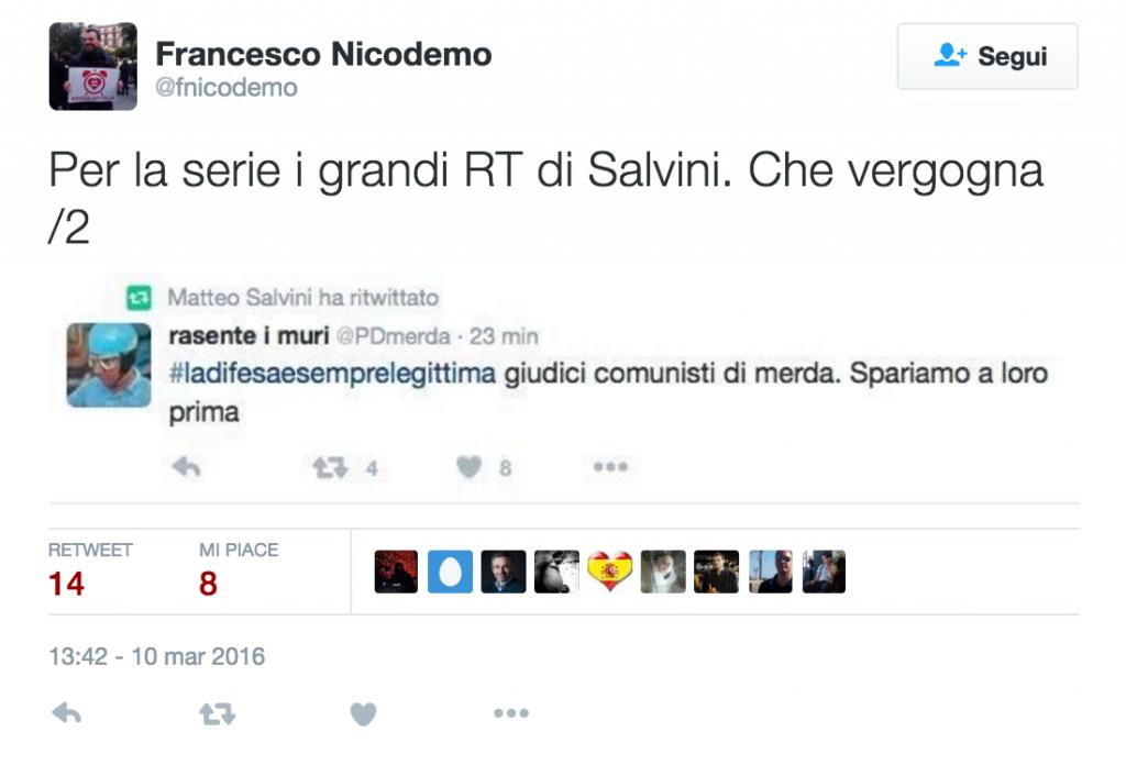 """""""Sparate ai giudici"""": Matteo Salvini ritwitta @PDmerda 2"""