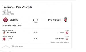 Serie B, Livorno-Pro Vercelli 0-1: Marchi gol decisivo