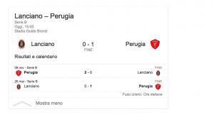 Guarda la versione ingrandita di Serie B, Lanciano-Perugia 0-1: Fabinho gol decisivo