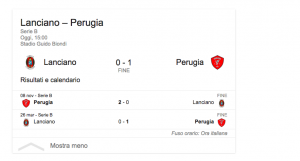 Serie B, Lanciano-Perugia 0-1: Fabinho gol decisivo