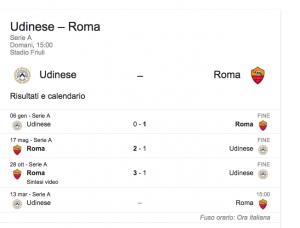Udinese-Roma, streaming-diretta tv: dove vedere Serie A