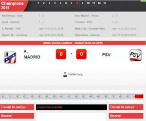 Atletico Madrid-Psv: diretta live ottavi Champions League con Sportal su Blitz