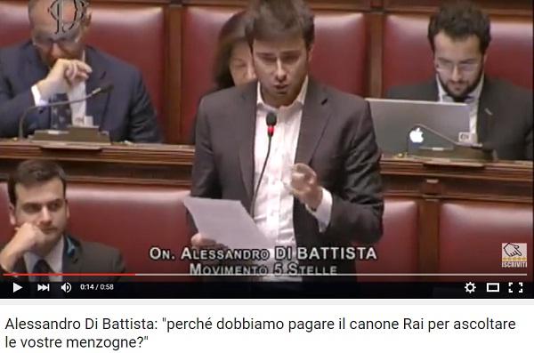 YOUTUBE Canone Rai, Di Battista : Vi spiego come non pagarlo