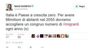 Laura Boldrini vuole 400.000 immigrati all'anno per salvarci