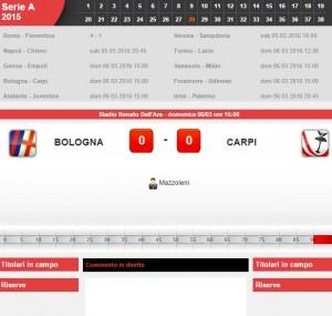 Bologna-Carpi diretta live su Blitz 28a giornata serie A