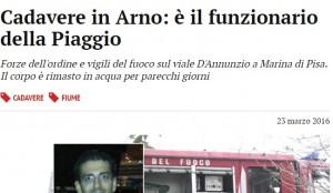 Guarda la versione ingrandita di Massimiliano Ventura trovato morto nell'Arno a Pisa