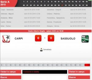 Carpi-Sassuolo: diretta live 31a giornata Serie A con Sportal