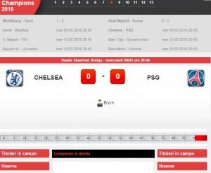 Chelsea-Psg: diretta live ottavi finale Champions su Blitz con Sportal
