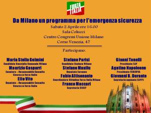 Milano, convegno Forza Italia sulla sicurezza