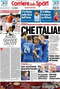 Guarda la versione ingrandita di Bruxelles, Johan Cruijff: le prime pagine del 25 marzo