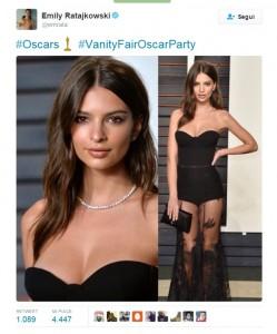 Guarda la versione ingrandita di Emily Ratajkowski agli Oscar (Twitter)