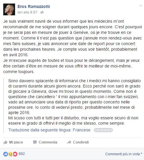 Eros Ramazzotti, annullate tre date del tour perché...