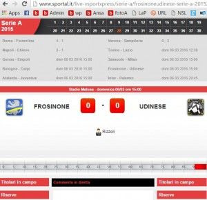 Frosinone-Udinese, diretta live