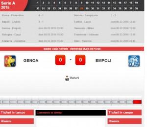 Genoa-Empoli, diretta live su Blitz