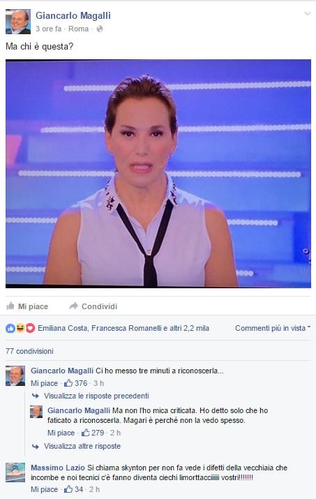 """Magalli posta su Facebook Barbara D'Urso: """"Ma chi è questa?"""""""