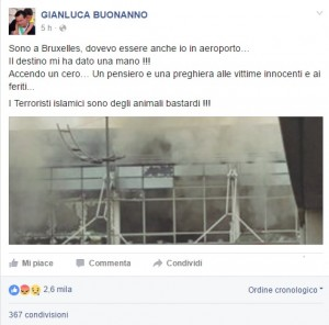 """Guarda la versione ingrandita di Attentato Bruxelles, Gianluca Buonanno: """"Salvo per miracolo"""""""
