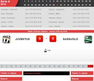 Juventus-Sassuolo diretta live su Blitz 29a giornata serie A