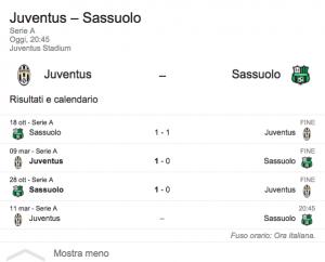 Juventus-Sassuolo, diretta. Formazioni ufficiali dopo le 20