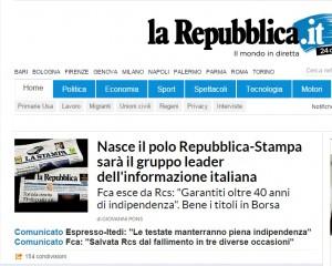 Repubblica-La Stampa: fusione. Con soci Fiat ed Espresso