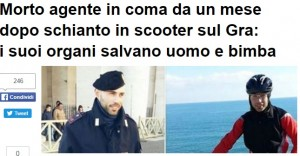Leonardo Sabato: organi agente morto salvano altre vite